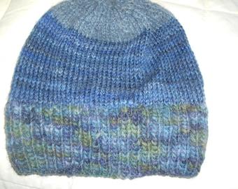 Hand knit knitted hand dyed wool linen watch cap hat beanie unisex men women blue grays one size