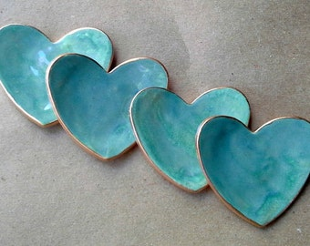 4 SEA GREEN Ceramic Heart ring bowls With Gold Edge  itty bitty 2  1/2 inches
