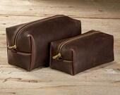 Stone Oiled Leather Dopp Kit Travel Toiletry Shaving Bag with Free Monogram Gift for Man Groomsmen