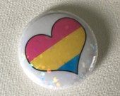 Holographic Glitter Pansexual One Inch Button, Pride, Heart, Pink, Yellow, Blue