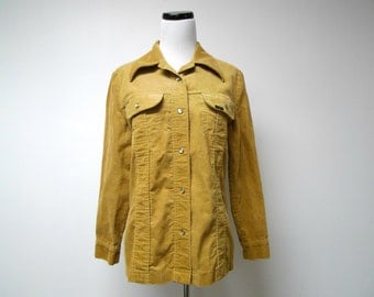 LEE . 1970s brown corduroy long sleeve light jacket . size 15 / 16 . fits a small to medium . made in USA