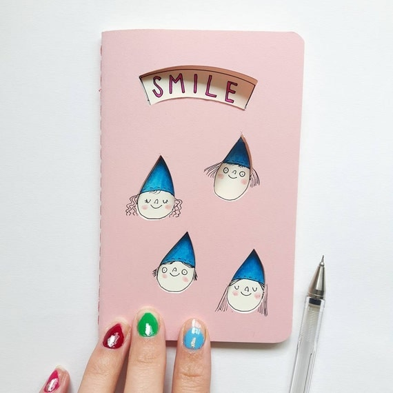 Rain notebook with inspirational quote. Pastel pink Smile When It's Raining journal. Gift for kids or best friend. Rain drop cut out windows