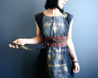Black Linen Tunic - iheartfink Handmade Hand Painted Hand Printed Womens Sleeveless Metallic Gold Art Print Tunic Dress