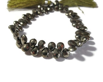 Pyrite Gemstone Beads, 8 Inch Strand of Fools Gold Teardrops, 55 Metallic Stones for Making Jewelry, 7mm x 5mm (B-Py2a)