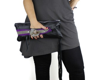 Black Purple & Gray Leather Wrist Clutch with Abstract Brooch - repurposed leather sustainable design