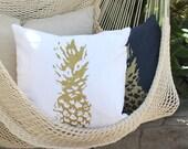 Gold Pineapple Throw Pillow - White Pineapple Decorative Throw - Pineapple pillow - Aloha - Beach Decor - Boho Beach Decor