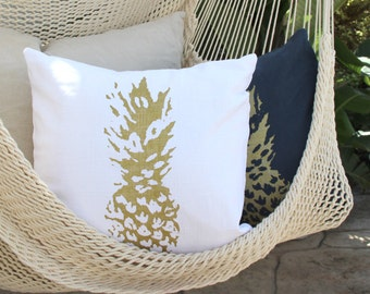Gold Pineapple Throw Pillow - White Pineapple Decorative Throw - Pineapple pillow - Aloha - Beach Decor - Boho Beach Decor