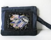Beaded Clutch Purse / Blue Fabric Purse with hand beaded detail //  BOHO Eco Friendly OOAK Bag by Luluanne