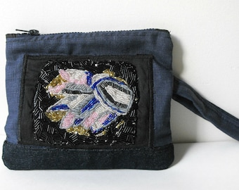 Beaded Clutch Purse / Blue Fabric Purse with hand beaded detail //  BOHO Eco Friendly OOAK Bag by Luluanne