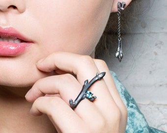 Black Silver Oak Sapling Branch Ring with Aquamarine and Champagne Diamonds