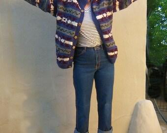 80s Cowichan cardigan ~ heavy chunky wool sweater ~ Bolivian wool ~ blue purple gray tribal design/ unisex womens LG, mens SM MED
