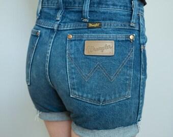Perfect Vintage Wrangler High Waist Cutoff Denim Shorts