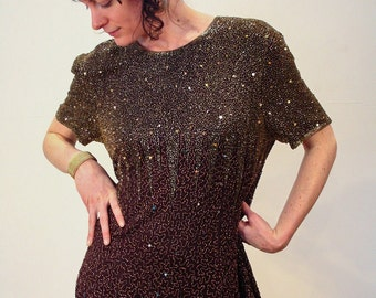 Galaxy Lightshow, 80s Beaded Dress XL, Chocolate Brown Silk Sequin Dress, Trophy Gown, Deco Gown, Beaded Party Dress XL by Stenay