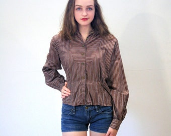 Melinda, 50s Gingham Blouse, 50s Prairie Blouse, Brown Floral Cotton Gingham Top, 1950s Blouse, Homespun Boho Top, S Petite