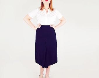 "40s Navy Wool Gabardine Skirt with Front & Back Inverted Pleat 32"" Waist"