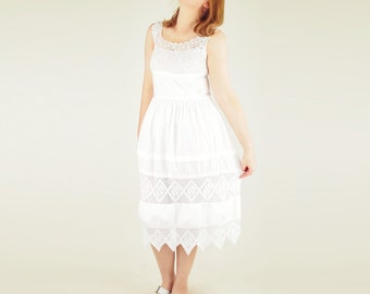 20s White Cotton and Crochet Lace Chemise Dress S M