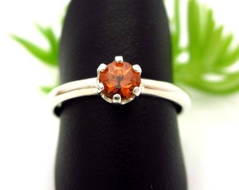 Spessartite Garnet Ring in Sterling Silver,Light Apricot Orange color Gemstone - Free Gift Wrapping