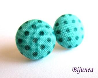Turquoise Polka dot earrings - Blue polka dot stud earrings - Polka dot post earrings - Polka dot posts sf1283