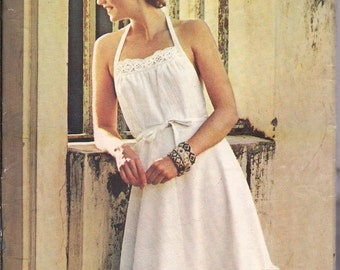 Vintage Sew & Sew 5797 Misses Wrap Dress or Apron, Halter Top, Flared Skirt Vintage Size Large, 16 - 18  Sundress Hippie Boho Prairie Dress
