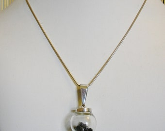 METEORITES Necklace, Glass Globes, Sterling Silver, 16 + in chain, HANDMADE / NEW!