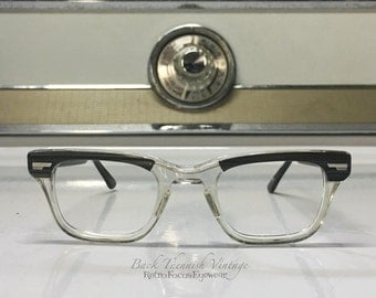 Shuron 60's True Vintage Eyeglass Frames Hornrim Madmen Rare Greywood Black Striped Clear Browline Eyeglasses USA