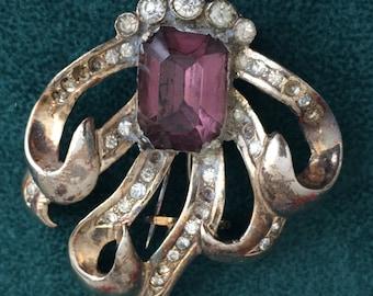 Vintage Signed EISENBERG Crystal and Amethyst Stole/Scarf Brooch C.1950