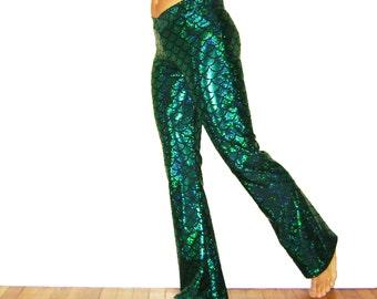 Mermaid Flare Pants Dragon Fish Scale Holographic Merman Ariel Halloween Women's Men's Green Turquoise