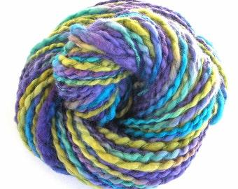 Handspun Hand Dyed Yarn Handmade Yarn Bluefaced Leicester Wool Silk Bulky Yarn - Grape Vineyard
