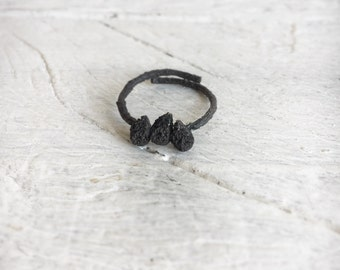 Oxidized silver seed ring -Black Botanical ring -Nature inspired jewelry-Sterling silver twig seed jewelry-Gift for her