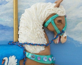 Carousel Horse Nursery Wall Art, Original Polymer Clay Sculpture, Children's Art, Merry Go Round, Horse Lover Gift, Fantasy Art
