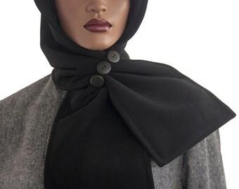 SALE Black Polyester Hood Wrap Scarf Head Hoodie Wrap Scarf Handmade
