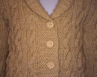 Hand Knit handmade Beautiful Cabled Cardigan with wood buttons, Size 5-6