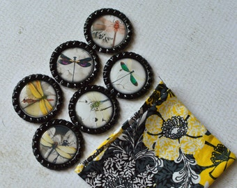 Dragonfly Magnets- Dragonfly Home Decor- Dragonfly Bottlecap Magnets- Insect Magnets- Gift for Her