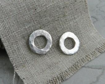 Organic Hammered Hoop Sterling Earrings-Everyday Earring-Minimalist