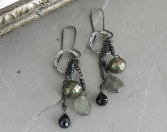 Faceted Golden Pyrite, Spinel, Labradorite Gemstone and Sterling Chain & Hoop Earrings