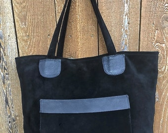 Black Suede, Leather, Large Tote Bag