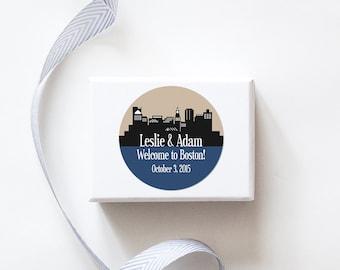 Boston, MA Custom Wedding Welcome Stickers  -  SKYLINE DESIGN