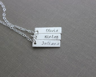 Sterling Silver Name 3 Bar Necklace with Customized Personalized, Nameplates, Hand Stamped, Mommy Jewelry, Childrens Names Custom Mother's