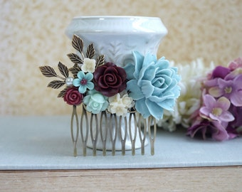 Burgundy Red Flower Comb Maroon Antiqued Hair Comb Light Blue Rustic Wedding Comb Maroon Red and Blue Leaf Branch Flower Bridal Hair Comb