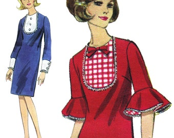 Mod Tuxedo Dress with Flounced Sleeves! Vintage 1960s Butterick Sewing Pattern 3990, Misses' One-Piece Dress, Size 12, Uncut with FF