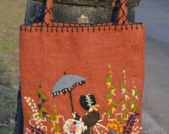 Boho Purse, Boho Bag, Victorian Woman, Victorian Lace, Wool Purse, Shabby Chic Purse, Novelty Handbag, Embroidered Handbag,