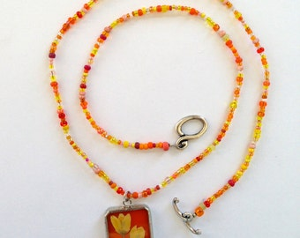 Stained Glass Pendant-Orange Flower Necklace