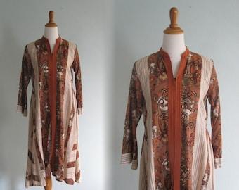 Vintage Sienna Brown India Print Dress - Beautiful 70s Indian Print Festival Dress - Vintage 1970s Dress M L