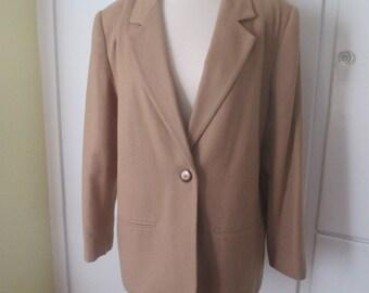 Camel Wool Sag Harbor Blazer with One Tortoiseshell Button, Lined, Plus Size, XL or XXL, Size 14P, Wool Jacket, Wool Blazer, Tan Blazer