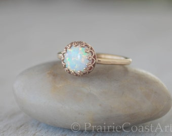 Gold Opal Ring in 14k Gold-Filled - Opal Stacking Ring - Handcrafted Artisan Ring - October Birthstone