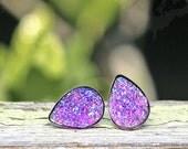 Purple Tear Drop Earrings, 10x14mm in Purple Glitter, Faux Druzy Studs, Stainless Steel Posts and Settings