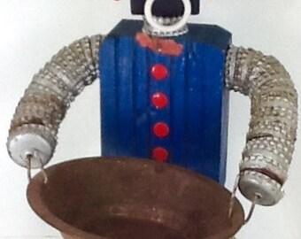 Original Tramp Bottle Cap Man Folk Art Ashtray Ash Tray Wooden & Metal