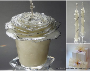 25th Wedding Anniversary, Gifts for Parents, Vow Renewal Gift, Glitter Rose, White & Silver Candles, Wedding Renewal, Anniversary Candles
