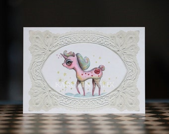 Lazy Love Unicorn  - 5x7 signed art print - pink love valentine -  lowbrow popsurreal kitsch art - by KarolinFelix