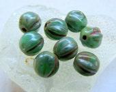 NEW BEACH MELONS . Czech Pressed Glass Beads . 6 mm (25 beads)
